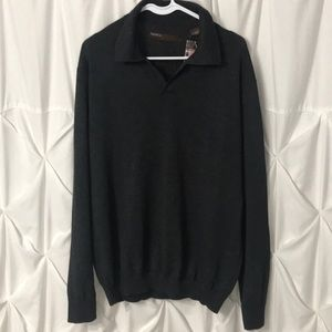 Perry Ellis Collared Sweater Dark Gray size L NWT